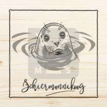 Onderzetter enkel hout laser Schiermonnikoog