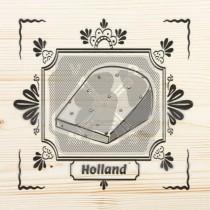 Onderzetter enkel hout laser Holland