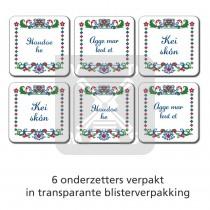 Set 6 onderzetters boerenbont Brabant