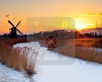 3d Kaart Winter Landsch.Molen