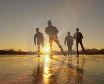 3d Kaart Winter Schaatsers