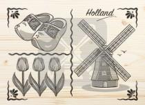 Ansichtkaart hout Holland     CM