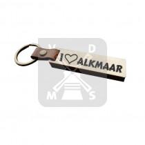 Sleutelh. hout leren band Alkmaar