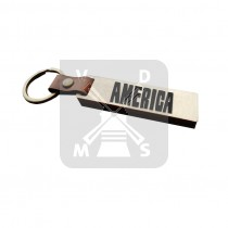 Sleutelh. hout leren band America