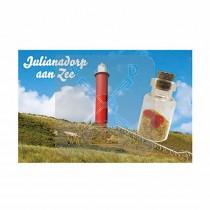 Magneet flesje zand en hartjes  Julianadorp aan Zee