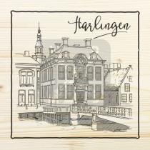 Magneet hout 6x6cm Harlingen