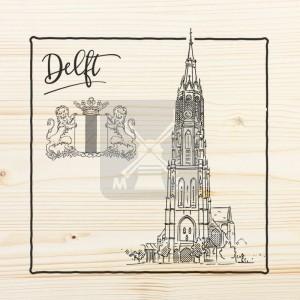 Onderzetter enkel hout laser Delft
